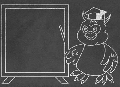 Diploma Digital Art - Wise Owl Teacher On Chalkboard by Miroslav Nemecek