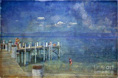Print featuring the photograph Wish You Were Here Chambers Landing Lake Tahoe Ca by David Zanzinger