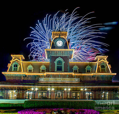 Wishes Over Magic Kingdom Train Station. Art Print