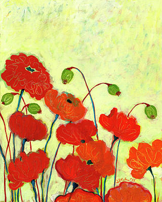 Red Flower Wall Art - Painting - Wishful Blooming by Jennifer Lommers