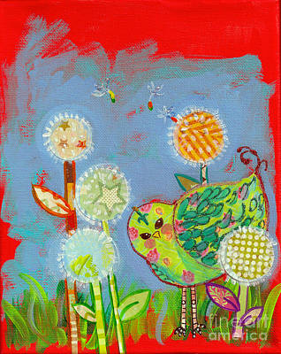Painting - Wishful Thinking Birdy by Shelley Overton