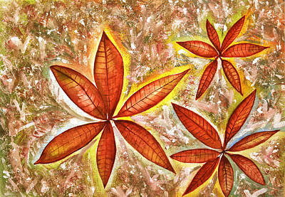 Wishing You A Merry Christmas With Poinsettias Original by Thecla Correya