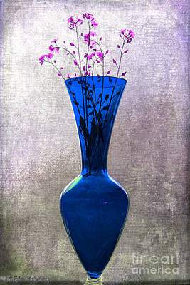 Photograph - Wisps Of Spring In A Blue Glass Vase by Nina Silver