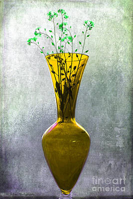 Photograph - Wisps Of Spring In A Yellow Glass Vase by Nina Silver
