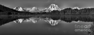 Photograph - Wispy Clouds Over Snow Capped Tetons Black And White by Adam Jewell