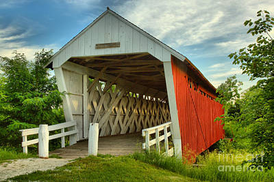 Photograph - Wispy Clouds Over The Imes Covered Bridge by Adam Jewell
