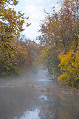 Phillies Digital Art - Wissahickon Creek - Misty Autumn Morning by Bill Cannon