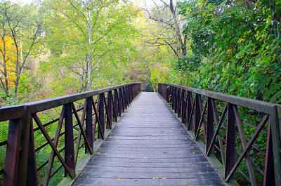 Creek Photograph - Wissahickon  - Lincoln Drive Walkway by Bill Cannon