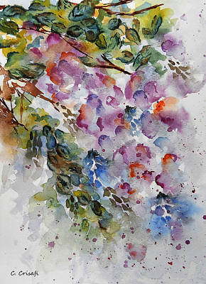 Watercolor Wisteria Painting - Wisteria 2 by Carol Crisafi