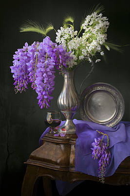 Wisteria And Allium Ursinum Art Print