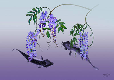 Painting - Wisteria And Carp by IM Spadecaller