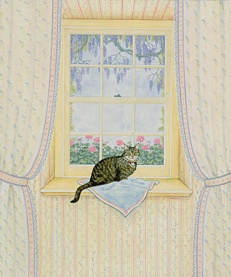 Boxes Painting - Wisteria Cat by Ditz