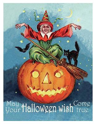 Pumpkin Art Card Mixed Media - Witch In A Big Pumpkin by Long Shot