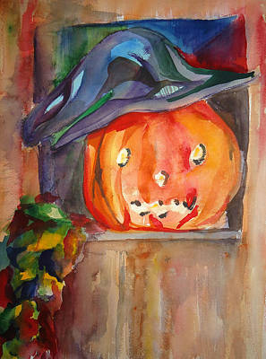 Painting - Witch Pumpkin by Charme Curtin