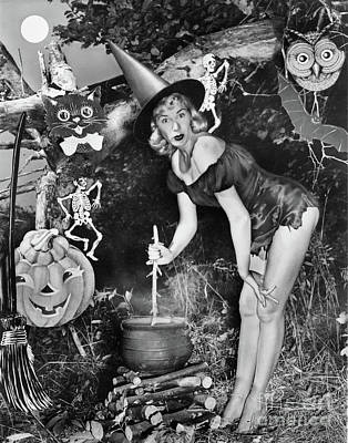 Photograph -  Witches Brew Cauldron Vintage Halloween by California Views Mr Pat Hathaway Archives