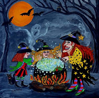 Of Children With Bubbles Painting - Witches Spelling Class - Halloween by Julie Brugh Riffey
