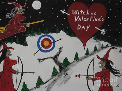 Witches Valentine's Day Art Print