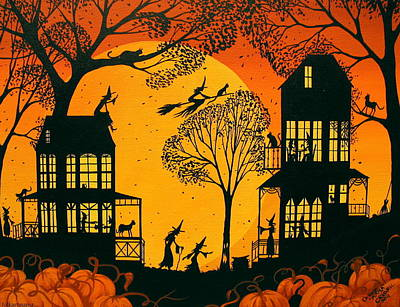 Folk Art Painting - Witchly Neighbors - Folkartmama  by Debbie Criswell