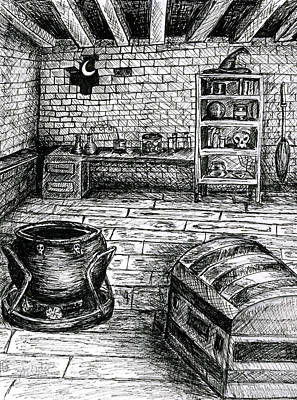 Old Cabins Drawing - Witch's Cabin by Ashley Ordines