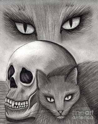 Art Print featuring the drawing Witch's Cat Eyes by Carrie Hawks