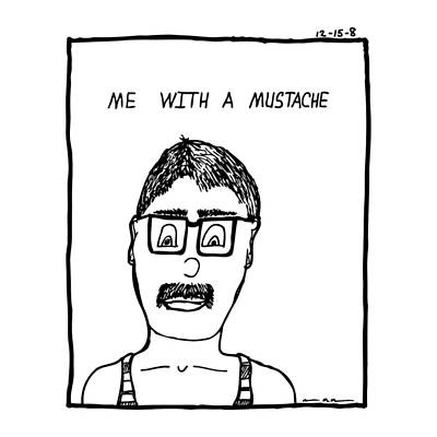 With A Mustache Art Print by Karl Addison