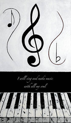 With All My Soul - Black Notes Art Print by Wayne Cantrell