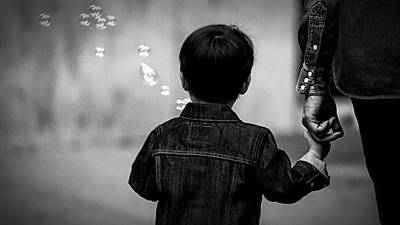 With Dad And Bubbles Art Print by Dieter Lesche