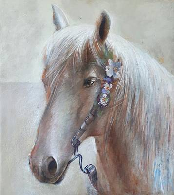 Painting - With Flowers In Her Hair-white Horse Painting By Vali Irina Ciobanu  by Vali Irina Ciobanu