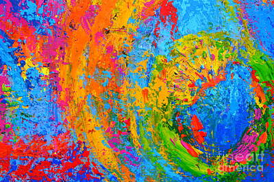 Within Circles 2 - Colorful Modern Abstract  Painting Palette Knife Work Art Print