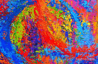Painting - Within Circles - Colorful Modern Abstract Painting Palette Knife Work by Patricia Awapara