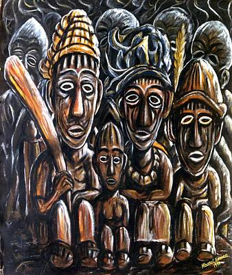 Living With Joy Mixed Media - With Love A Family In Harmony by Mbonu Emerem