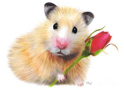Hamster Drawing - With Love by Karen Hull