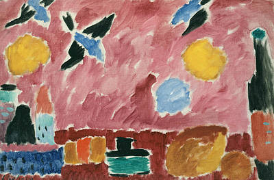 Swallowing Painting - With Red Swallow-patterned Wallpaper by Alexej von Jawlensky