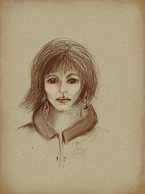 Ipad Drawing - With Short Hair by Angela A Stanton