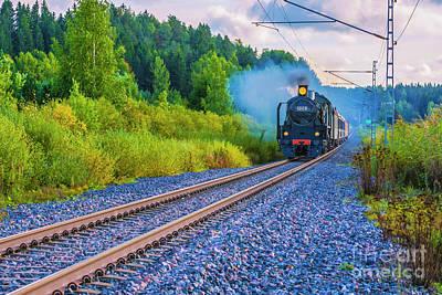 Steam Locomotive Photograph - With The Force Of Steam by Veikko Suikkanen