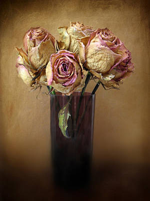 Antique Flowers Vase Wall Art - Photograph - Withered Beauty by Jessica Jenney
