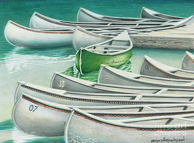 Colored Pencil Painting - Without A Paddle by Kenneth Hershenson