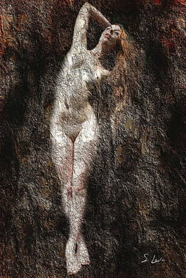 Digital Art - Without Clothes Nude Lady Digital Painting by S Art