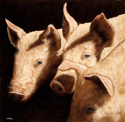 Legal Painting - Witness For The Defense...wolf Vs. Pigs by Will Bullas