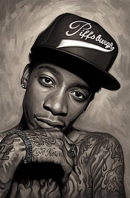 Rap Painting - Wiz Khalifa Artwork  by Sheraz A
