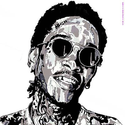 Wiz Khalifa Drawing - Wiz Khalifa B/w by Chris Bardell