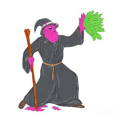 Wizard Casting Spell Grime Art Art Print
