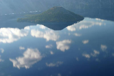 Photograph - Wizard Island And Cloud Reflected Waters, Crater Lake Np, Oregon by Robert Mutch