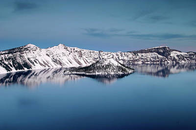Photograph - Wizard Island And The West Rim At Twilight, Crater Lake Np, Oregon by Robert Mutch