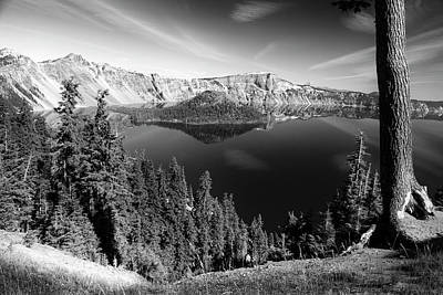 Photograph - Wizard Island On Crater Lake B W by Frank Wilson