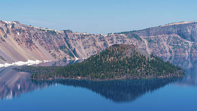 Photograph - Wizard Island Reflections 2 Crater Lake Oregon by Lawrence S Richardson Jr