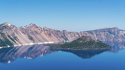 Photograph - Wizard Island Reflections Crater Lake Oregon by Lawrence S Richardson Jr
