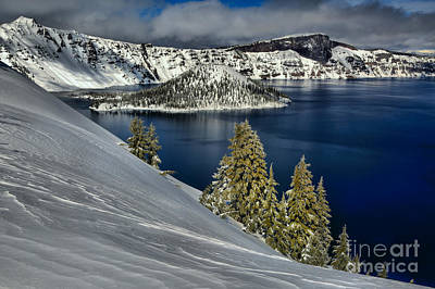 Photograph - Wizard Island Winter Blues by Adam Jewell