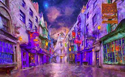 Townscape Digital Art - Wizard Mall by Caito Junqueira