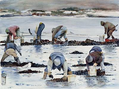 South Boston Painting - Wnter Clam Diggers by Dan McCole